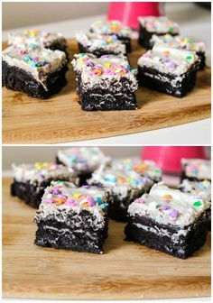 Have you ever stuffed brownies with Oreos before?  The Oreo cookie melts into the brownie, creating the fudgiest texture! Top it all off with cream cheese frosting and sprinkles.