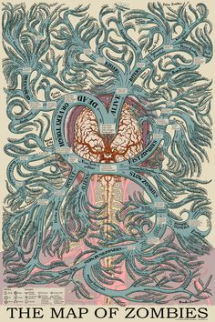Jason B. Thompson is raising funds for The Map of Zombies on Kickstarter! A vintage medical illustration-style poster identifying over 350 different zombie types from movies, books, games & more. Photomontage, Types Of Zombies, Zombie Vampire, Sibylla Merian, Up Animation, Steampunk, Zombie Movies, Vintage Medical, Design Graphique