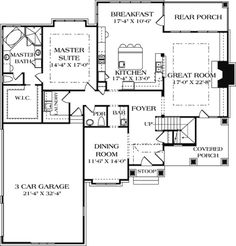 Craftsman Style House Plan - 4 Beds 4.5 Baths 3680 Sq/Ft Plan #453-14