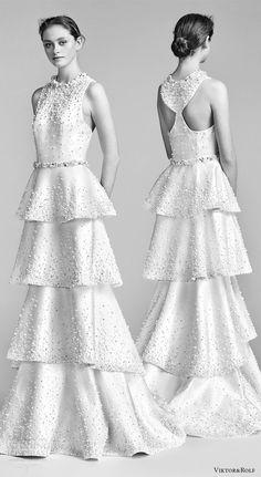 viktor and rolf spring 2018 bridal sleeveless jewel neck heavily beaded column wedding dress tiered skirt (8) mv racer back modern -- Viktor