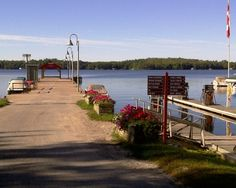 Dock at Beaumaris Yacht Club on Lake Muskoka, Ontario, Canada