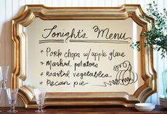 Turn a mirror into a holiday menu board!