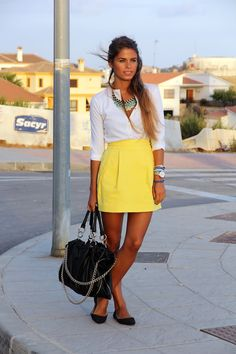 Yellow tulip skirt + white blouse + black flats/bag + turquoise accents