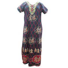 Mogulinterior Blue Kaftan Printed Cotton Resort Boho Hippy Dress