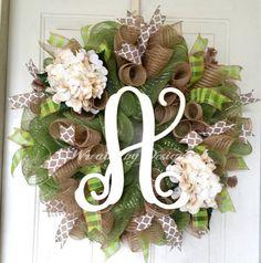 Wreath-hydrangeas-Door wreaths initial https://www.etsy.com/listing/228174312/year-around-door-mesh-wreath-hydrangea
