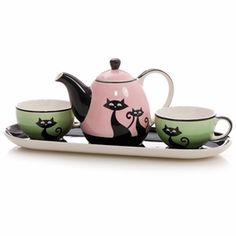 """Cats with Attitude"" Tea Set for Two"