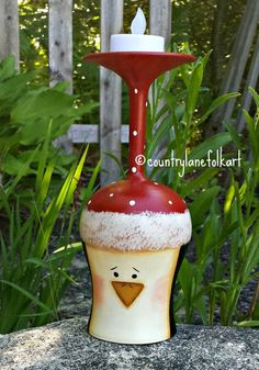 CIJ, Penguin wine glass, hand painted, Penguin decor, winter decor, Country Christmas, candle holder