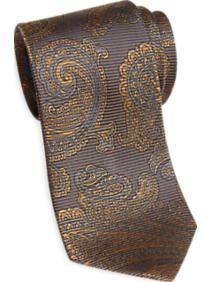 Egara Brown and Gold Paisley Narrow Tie