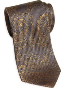 Egara Brown and Gold Paisley Narrow Tie