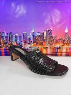 Womens shoes BRIGHTON Freddi Bench Made strappy slides heels sandals sz 9.5 M #Brighton #Slides