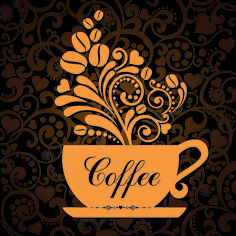 Coffee cup with floral background vector 01