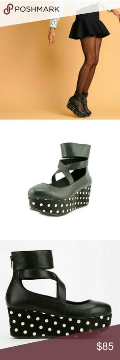 Nasty Gal Shellys London Wedge polkadot platforms Size 7 New comes with box carried at Nasty Gal Nasty Gal Shoes Platforms