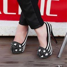 Pumps Shoes | Attractive Rhinestone Stripe PU Round Closed Toe Stiletto Super High Heel Basic Pumps - Hugshoes.com
