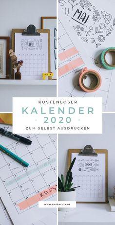 Monatskalender auf A4 zum ausdrucken für 2020 #freebie #printable #kalender2020 #Kalender #2020 Midori Traveler's Notebook, Free Calender, Diy Kalender, Free Doodles, Calander, Freebies, Cool Diy Projects, Project Ideas, Tips & Tricks
