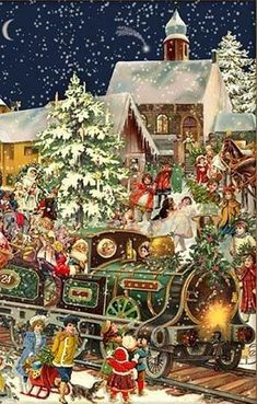 Victorian Christmas Train German Advent Calendar Countdown Made in Germany for sale online Christmas Train, German Christmas, Old Christmas, Christmas Scenes, Victorian Christmas, Christmas Holidays, Christmas Decorations, Christmas Chocolate, Father Christmas
