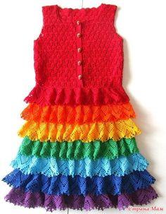 Платье для девочки крючком радуга