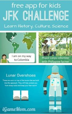 Free App for Kids JFK Challenge - learn history culture science through games. Content include 2 JFK initiatives: The Peace Cops and The Space Program.