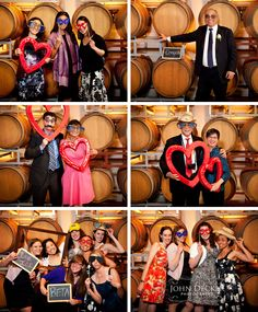 Wedding photo booth with wine barrels as the backdrop... Old Sugar Mill, Clarksburg, CA