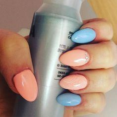#gelnails #semilac #nails2inspire #peach #babyblue #nailart  by _olciaaa