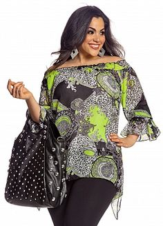 bbc3f091a5349 Ashley Stewart  Flounce Sleeve Status Print Blouse