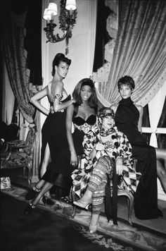 Anna Piaggi and the supermodels Linda, Naomi, and Christy at the Versace Couture show and party at The Ritz, Paris.
