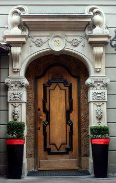 Artistic door and portal at Długa Street 78 in Gdańsk.Poland