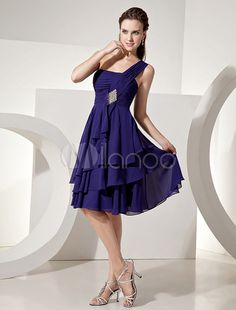 Vestido de damaschifón de azul francia de un solo hombro - Milanoo.com