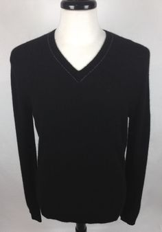 Theory Sweater Cashmere Mens Black Long Sleeve V Neck L #Theory #VNeck