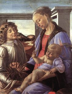Madonna and Child with an Angel by BOTTICELLI, Sandro #art