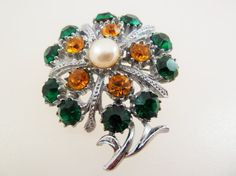 Vintage Flower Brooch with Green and Amber by jewelbirdvintage
