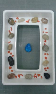 my creation | centerpiece stones table dinner effect arrangiment pot minimal