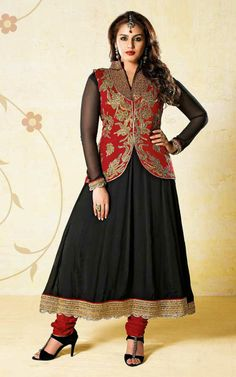 RED  BLACK CHIFFON ANARKALI SALWAR KAMEEZ - BL 7211