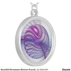 Beautiful Movements Abstract Fractal Art Pink Round Pendant Necklace