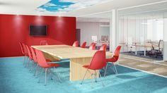 Klassische Besprechungsräume haben einen Tisch mit vielen Stühle drumherum.