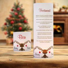 #Weihnachtsdeko #Christmas #Windlicht Menükarte Elche: https://www.meine-hochzeitsdeko.de/windlicht-weihnachten-menuekarte-elche