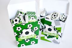 Awesome soccer party printables from #AmandaCreation. Cute way to say thanks to your soccer coach. Cute favor box, you can tuck in a gift card or treat for an end of the season thank you gift.