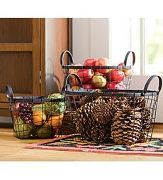 Fun and functional storage set-of-3-wire-metal-baskets. Use all around the house. #PlowandHearth