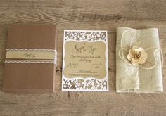 Dreams Come True... Handmade flower, tulle leaf, burlap covered laser cut wedding invitation in lace decorated craft box. All in one!