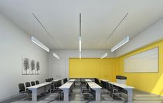 Sophisticated Modern Classroom Interior Design With Yellow And Gray Wall Colors…