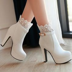 New Women White Round Toe Chunky Lace Stitching Fashion Ankle Boots Available Sizes Shaft Height Heel Height Platform Height Heel Height :High Heel Type :Chunky Boot Shaft :Ankle Color :White Toe :Round Shoe Vamp :PU Leather Closure :Zipper Knee High Stiletto Boots, Lace Up Ankle Boots, High Heel Boots, Heeled Boots, Shoe Boots, Shoes Heels, Buy Boots, Heeled Sandals, White High Heels