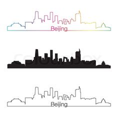 """Buy the royalty-free Stock vector """"Beijing skyline linear style with rainbow in editable vector"""" online ✓ All rights included ✓ High resolution vector f. Vector Online, Vector File, Skyline Tattoo, Peking, City Drawing, City Tattoo, Skyline Silhouette, Travel Drawing, Simple Doodles"""