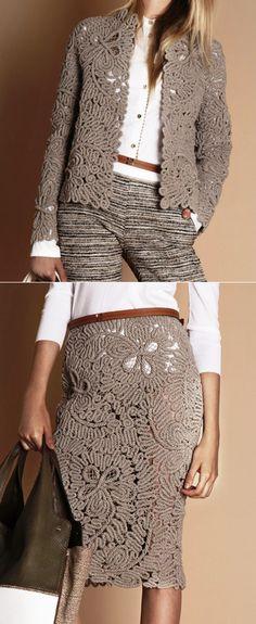 37 Ideas crochet lace diy beautiful for 2019 Crochet Skirts, Crochet Clothes, Freeform Crochet, Knit Crochet, Lace Skirt Outfits, Dress Shoes, Crochet Jacket, Knit Vest, Business Outfits