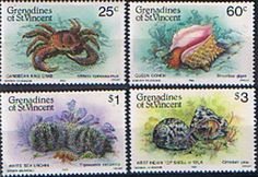 Grenadines of St Vincent 1985 Shell Fish Set Fine Mint SG 360/3 Scott 472/5 Other West Indies and Commonwealth Stamps HERE