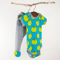 Baby onesie and footie outfit boy or girl size 6-9 month.. lime and blue. $38.00, via Etsy.
