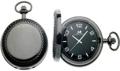Handsome brushed gunmetal pocket watch with herringbone bezel
