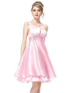 Ever Pretty Ruffles Silk Satin Bow Rhinestones One Shoulder Cocktail Dress 03229, Size 8 Pink, HE03229PK10