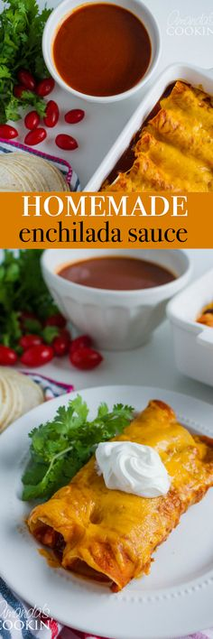 This Homemade Enchilada Sauce compliments any style of enchilada- whether it be pork, chicken, beef or vegetarian style! Pair it with a side of Spanish rice and corn and you have a delicious and flavorful meal.