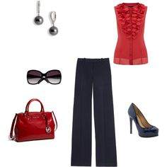 Just another work day, created by #amanda-wefing on #polyvore. #fashion #style Tory Burch Pour La Victoire