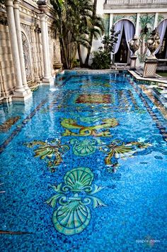 Pool mosaic in Casa Casuarina - Former Versace House on Ocean Drive, South Beach, Miami, FL-tile design- optional floor plan design not too sure about the yellow Versace Mansion, Versace Home, Versace Miami, Beautiful Pools, Beautiful Places, Casa Casuarina, Sicis Mosaic, South Beach Miami, Miami Florida