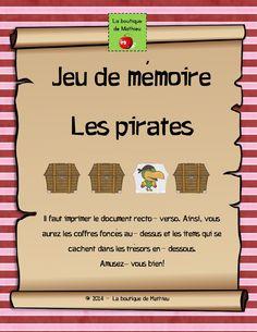 Jeu de mémoire sur les pirates Theme Carnaval, Prison, Activities For Kids, Classroom, Teaching, Education, School, Birthday, Boutique